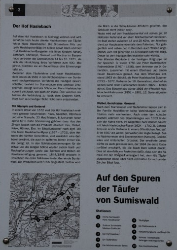 Marker on the trail of the Anabaptists of Sumiswald