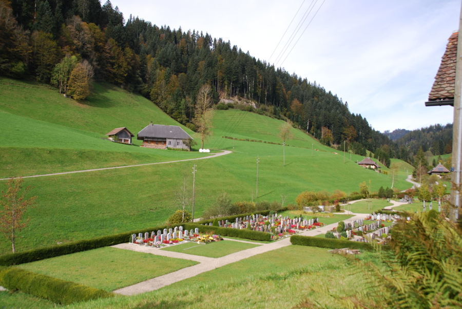 Cemetery and Scenery as seen from the church at Trub